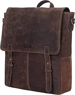 Handmade Leather 11 * 4 * 12 Inch Single Compartment Unisex Backpack To Carry Books Files Notebook Document Holder With Wa...