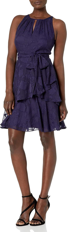 Tahari ASL Women's Sleeveless Keyhole Neck Tiered Dress