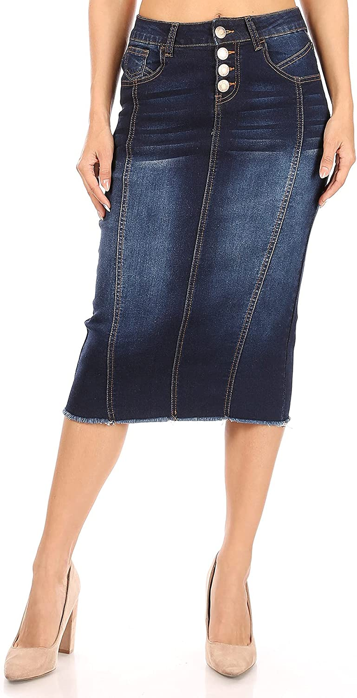 Fashion2Love Women's Juniors/Plus Size Calf- Length Pencil Stretch Denim Skirt (77873)