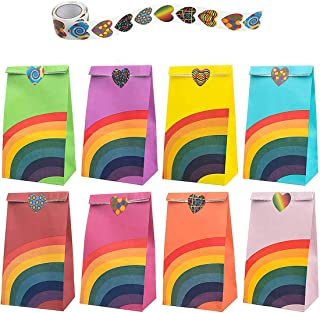 Rainbow Party Bags, DELFINO Rainbow Treat Paper Bags Favor Paper Gift Bags with Heart Stickers, for Birthday Party Christm...