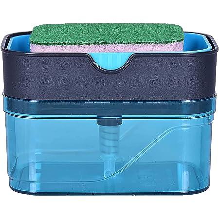 KBS 2 in 1 Soap Dispenser for Dishwasher Liquid Holder , Liquid Dispenser Through Pump 400 ML with Sponge (Blue)