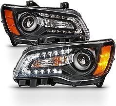 ACANII - For 2011-2014 Chrysler 300 Halogen Factory Style LED DRL Black Headlights Headlamps Driver + Passenger Side
