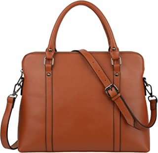 YALUXE Women's Simple Style Leather Work Tote Crossbody Shoulder Bag