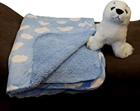 Sherpa Lined Baby Blanket for Boys & Girls -30x40 in. | Versatile ~Use as Tummy Time Mat, Warm Cover for Car Seat, Stroller, Crib, Cot, Nursery Decor | Ultra-Soft, Durable (Clouds Blue)