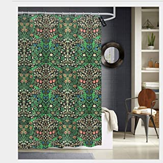 Puloa William Morris jacobean Floral Black Background Shower Curtains with 12 Hooks Bathroom Curtain 72