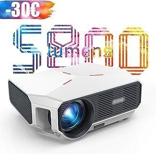 【Actualizado 2020】 Proyector WiFi, BOSNAS Mini Proyector Portátil 5800 Lúmenes Nativo 720P, Soporta Full HD 1080P, Pantalla de 200