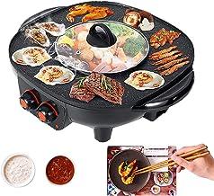 TWSOUL Gril Et Hot Pot Double Pot,Le Barbecue Thaïlandais Et Hot Pot,Barbecue Intérieur Sans Fumée-Facile à Nettoyer,Convi...