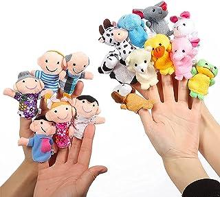 Mumoo Bear 16 Pack Soft Plush Finger Puppets Set - MANSA 10 Animals + 6 People Family Members Velvet Cute Toys for Childre...
