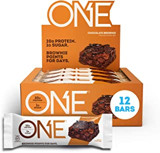 ONE Protein Bars, Chocolate Brownie, Gluten Free Protein Bars with 20g Protein and only 1g Sugar, Guilt-Free Snacking for High Protein Diets, 2.12 oz (12 Pack)