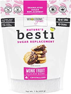 Wholesome Yum Besti 1:1 Natural Sugar Replacement - Keto Monk Fruit Sweetener With Allulose (16 oz / 1 lb) ...