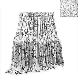 Money Weave Pattern Extra Long Blanket Monochrome Pattern with Euro Dollar Yen Symbols Coins Piggy Bank Stock Graphs Doodle 80