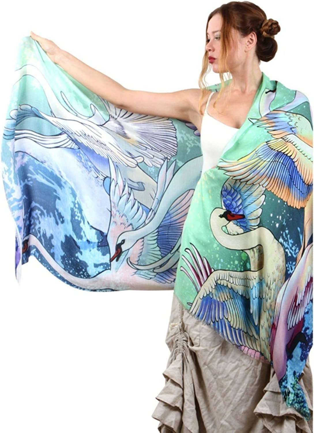 Delicately Hand Painted & Digitally Printed Pure Cotton & Silk Swans Bridal Shawl