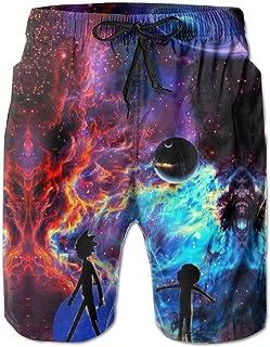DISINIBITA Rick-Morty Fashion 3D Printed Galaxy Swim Trunks Beach Shorts Sports Running Shorts for Mens