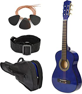 """Left Handed Wood Guitar with Case and Accessories for Boys/Girls/Teens/Beginner 38"""" (Blue)"""