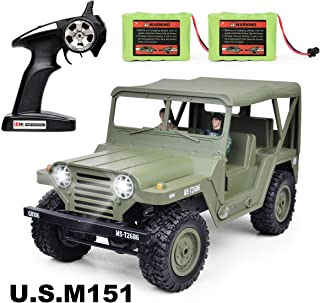 RC Cars, RC Jeep 2.4GHz 4WD Remote Control Car 1: 14 Scale RC Trucks, Electric RC Cars,2 Rechargeable NI-MH Battery,2 Military Doll Off Road Crawlers Toy Car for Adults & Kids,Green