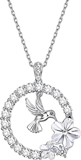 Sllaiss 18K Gold Plated Hummingbird Pendant Necklace for Women Circle Necklace, Crystals from Swarovski, for Girlfriend