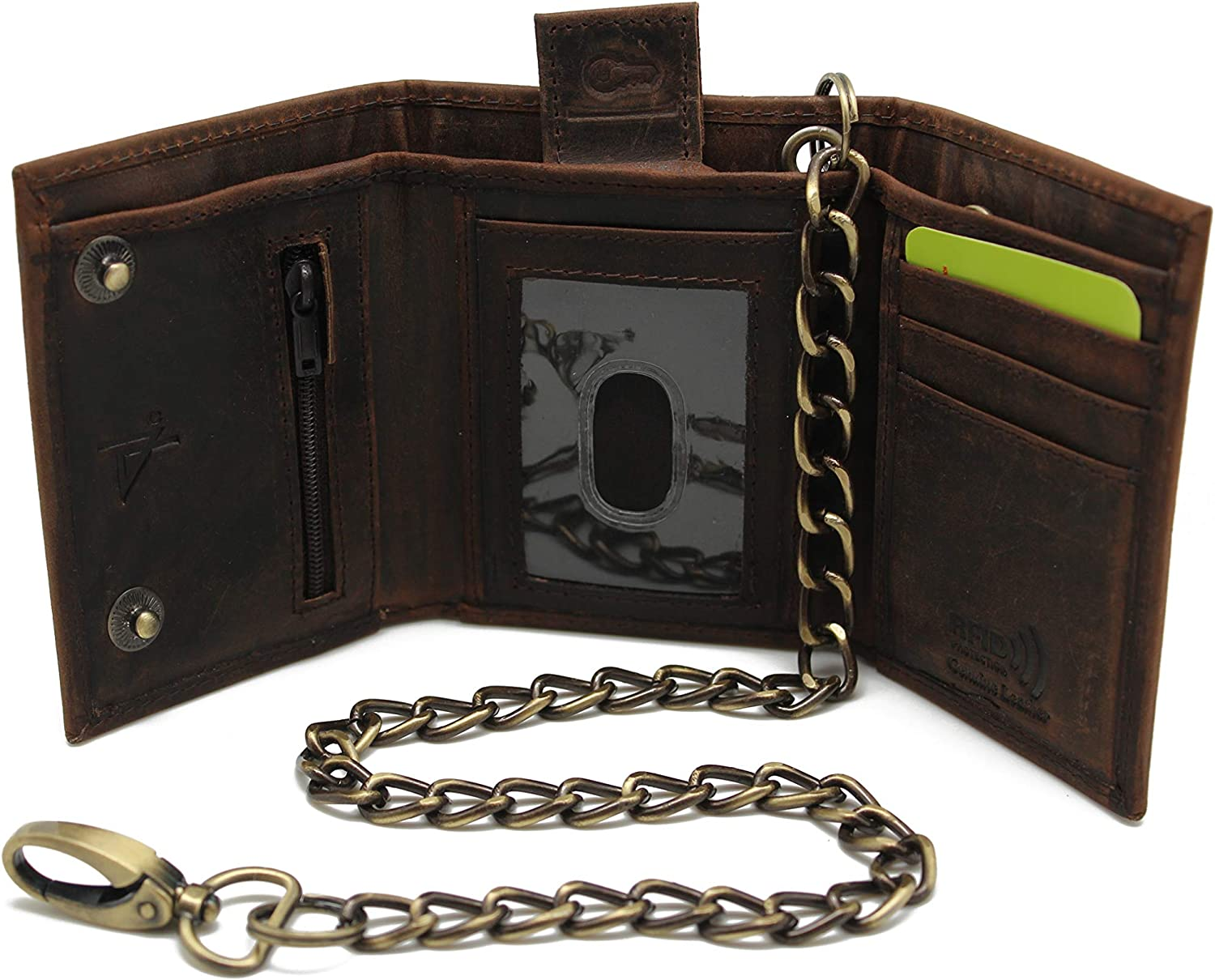 RFID safe Men's Trifold Chain Wallet Pure Leather Crazy Horse Brown Key Holder ID Window Card slot (Brown JTC111 Crazy Horse)