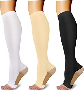 3 Pairs Open Toe Compression Socks for Men Women Toeless Compression Socks