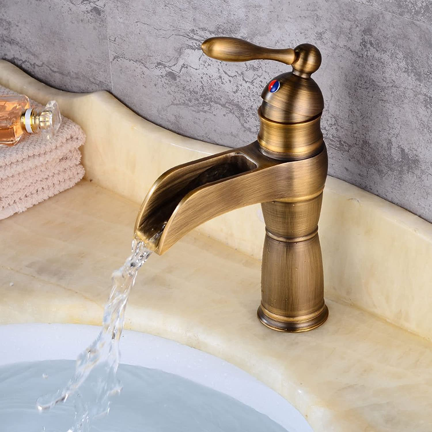 AQMMi Basin Sink Mixer Tap for Lavatory Antique Copper Single Lever Hot and Cold Water Waterfall Bathroom Vanity Sink Faucet