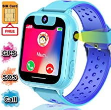 Kids Smart Watch Phone with Free SIM Card Waterproof Boys GPS Tracker Watch with SOS Carmen Game Alarm Voice Chat Electronic Learning Watches for Kids Boys 4 - 12 Year Xmas Holiday Toy Gift
