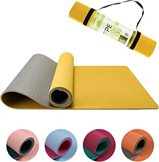 TOPLUS Yogamatta halkfri tränings- och pilatesmatta, yoga fitnessmatta med asana-linje, TPE gymnastikmatta med bärhandtags...