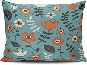 DOUMIFA Teal Turquoise and Orange Whimsical Flowers Nature Pattern Home Decoration Throw Pillowcase 12X16 inch Boudoir Size One Side Design Printed Custom Cushion Cover Case (1-Pack)