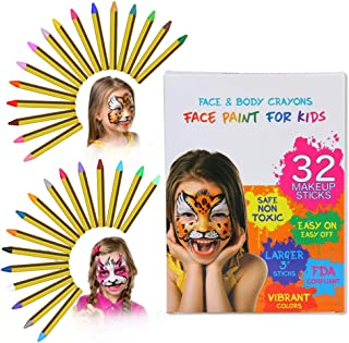 ThinkMax Pintura Cara Niños, 32 Colori Pittura Facciale, Crayons de Pintura para Halloween, Fiestas