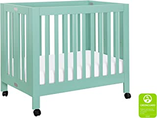 Babyletto Origami Mini Portable Crib with Wheels in Lagoon - 2 Adjustable Mattress Positions, Greenguard Gold
