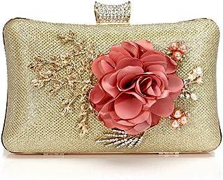 GLJJQMY Evening Bag Fashion Flower Women's Banquet Handbag Evening Bags (Color : Gold, Size : 20x12x6cm)