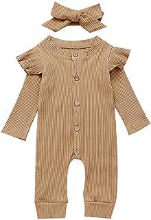 2 قطع طفلة بوي الصلبة رومبير الوليد الملابس محبوك ملابس بذلة القطن (Color : Camel, Kid Size : 6M)