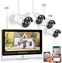 "SMONET All in One with 12"" Monitor Security Camera System Wireless,8-Channel 1080P Home Security System (1TB Hard Drive),4pcs 1.3MP Outdoor Wireless IP Cameras,P2P,Easy Remote View,Free APP"