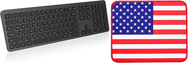 Wireless Keyboard Grey with Mouse Pad USA Flag