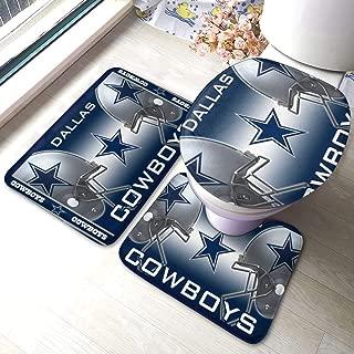 Dallas-Cowboys- 3pc Solid Non Slip Soft Bath Rug Set for Bathroom U-Shaped Contour Rug, Mat and Toilet Lid Cover