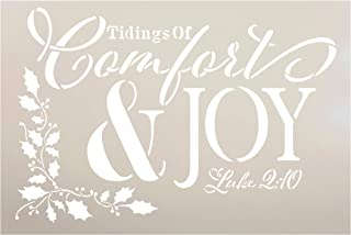 Tidings of Comfort & Joy Luke 2:10 Stencil by StudioR12 | Reusable Mylar Template Paint Wood Sign | Craft Rustic Christmas Scripture Home Decor | Holiday DIY Faith Gift Holly | SELECT SIZE (15