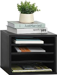 Organiseur bureau bois noir avec 4 couches fournitures support d'imprimante dim. 35,5L x 25l x 28,6H cm