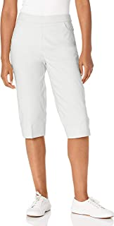 Alfred Dunner Women's Plus Size Classic FIT Allure Clam Digger Pant, White, 16W
