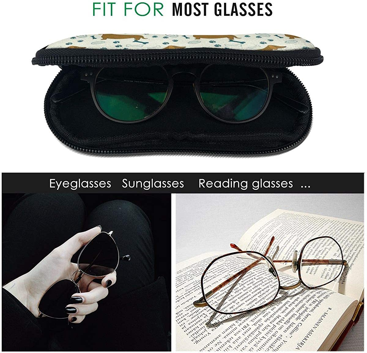 Dachshund Dog With Bones Sunglasses Soft Case Ultra Light Neoprene Zipper Eyeglass Case With Key Chain