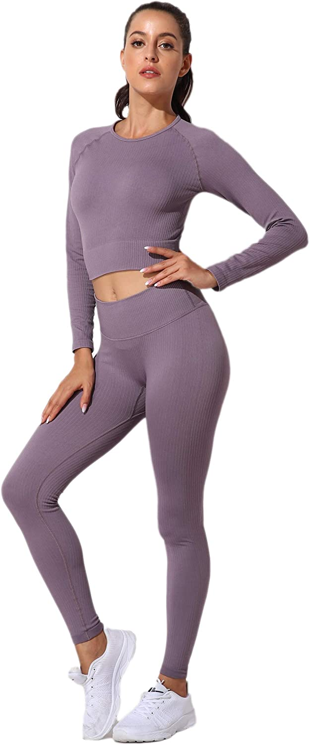 SweatyShark Womens Workout Outfit Set Active 2 Pieces Seamless Yoga Leggings with Paded Stretch Sports Bra Top
