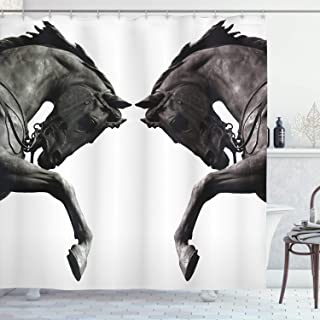 Ambesonne Retro Shower Curtain, Twin Contrast Horse Heads Image Vintage Style Abstract Art Antique Theme, Cloth Fabric Bathroom Decor Set with Hooks, 84