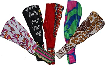 Wevez Women's Pack of 5 Stretchable Printed Head Bands, One Size, Assorted