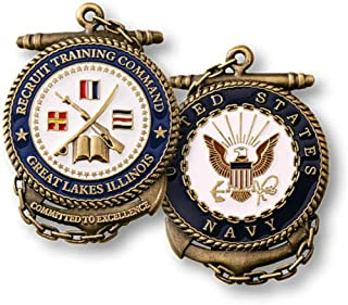 Navy Coin Recruit Training Command Great Lakes Illinois Challenge Coin