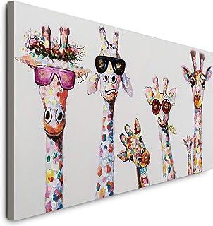Graffiti Art Coloré Animal Peinture Sur Toile Curieux Girafes Famille Pop Art Affiche Imprime Tableau Chambre Enfant Decor...