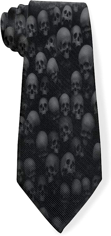 Black Skull Head Mens Classic Color Slim Tie, Men's Neckties, Fashion Boys Cravats