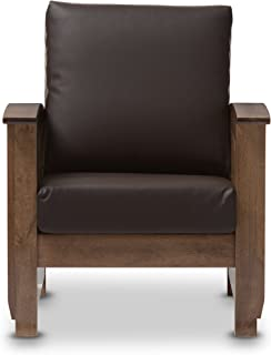 Baxton Studio Chalice Modern Classic Mission Style Walnut Wood Dark Brown Faux Leather 1 Seater Lounge Chair