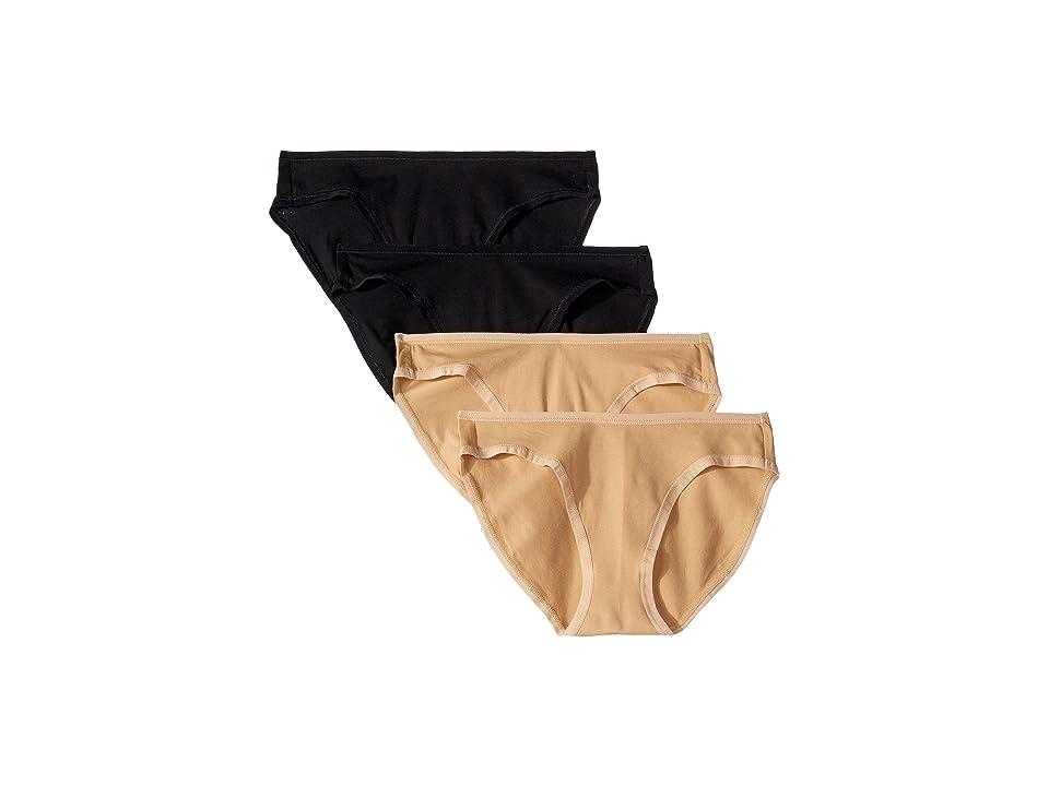 PACT Organic Cotton Classic Fit Bikini 4-Pack (Black/Almond) Women