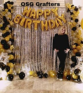 OSG Crafters Happy Birthday Letter Foil Balloon Set of Gold + 2 Pieces Silver Fringe Curtain (3 X 6 Feet) + Pack of 60 Pieces Metallic Balloons (Black, Gold and Silver)