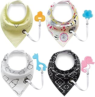 Baby Bandana Teething Bibs,Baby Bandana Bibs Set for Teething and Drooling,Baby Shower Registry Gifts for Boys & Girls - 100% Organic Cotton. ( 4-Pack Bibs with 4 Teether Toys)