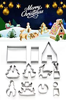 ShengHai 3D Christmas Cookie Cutter Set - 14 Piece Favorite Holiday Cookie Cutters, Include: Christmas Gingerbread House, Snowman, Christmas Tree, Deer and Sled