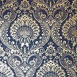 Papel pintado Arthouse Opera Decoris Damasco azul marino 910308 rollo completo, papel