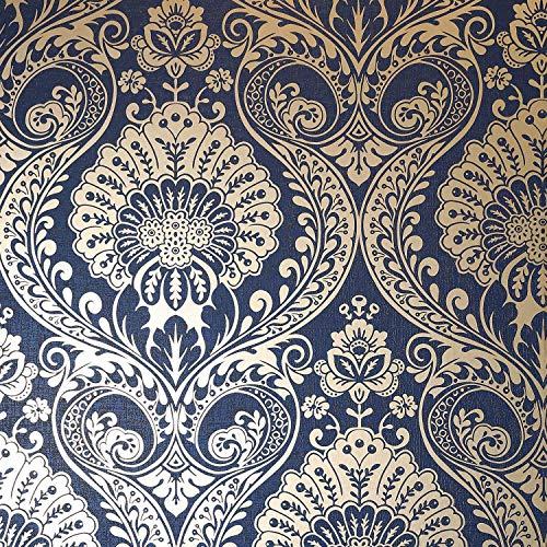 Arthouse Opera Wallpaper Decoris Damasco Navy Gold 910308 - Rollo completo de papel